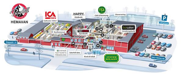 illustration över shopping gallerian Bayhill Center i Hemavan